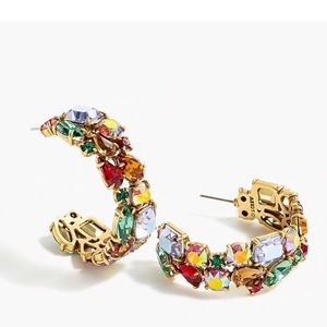 Jcrew Crystal Cluster Hoop Earrings